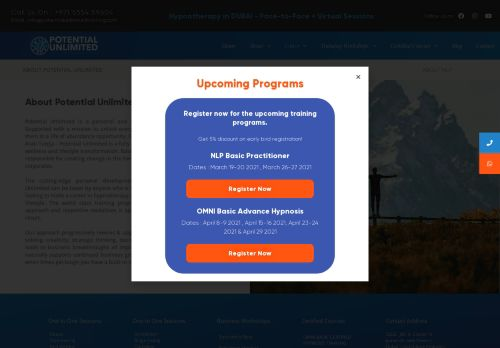 لقطة شاشة لموقع Potential Unlimited Training بتاريخ 08/05/2021 بواسطة دليل مواقع الدليل السهل