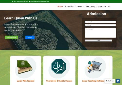 لقطة شاشة لموقع Unique Quran Academy - Online Quran teaching institute بتاريخ 08/08/2020 بواسطة دليل مواقع الدليل السهل